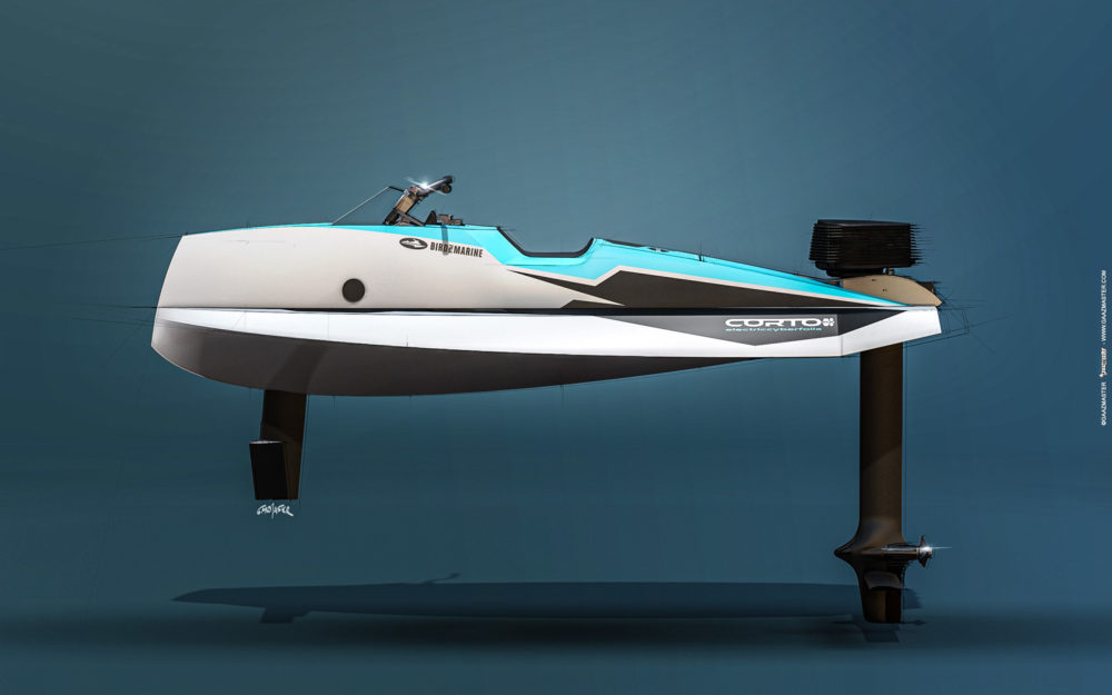 Le Cyberfoil Corto GT par Bird-e-Marine modèle Selek-Blue vue profil