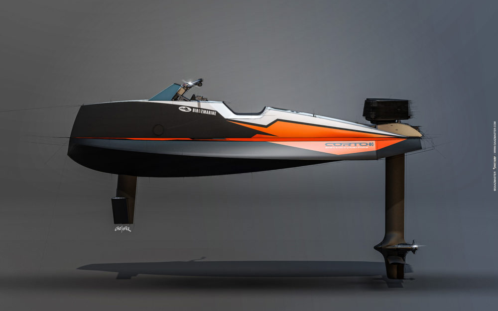 Le Cyberfoil Corto GT par Bird-e-Marine modèle Selek-Orange vue profil