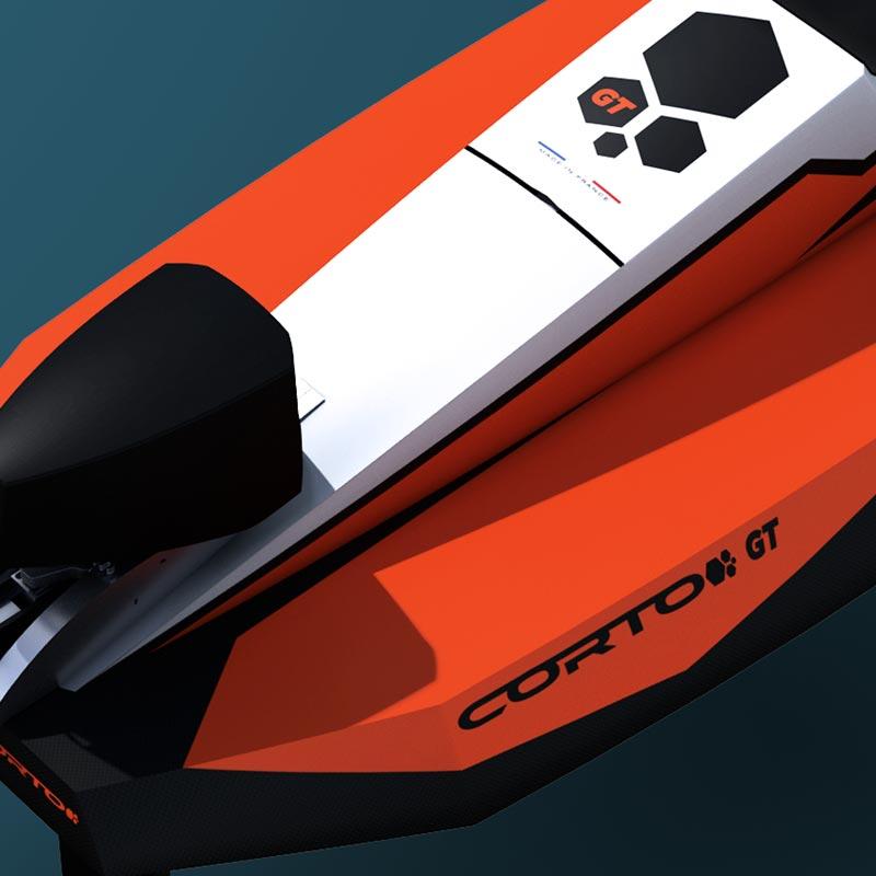 Détail du Cyberfoil Corto GT par Bird-e-Marine en version Celek-Orange